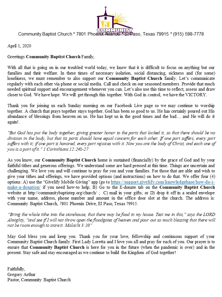 Givelify CBC letter